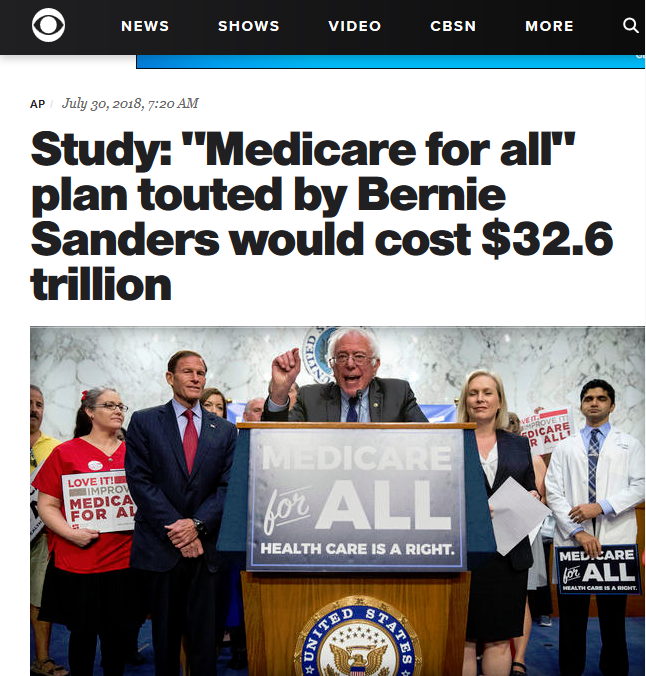 Study: Medicare for All Plan Touted by Bernie Sanders Would Cost $32.6 Trillion