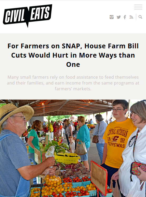 Civil Eats: For Farmers on SNAP, House Farm Bill Cuts Would Hurt in More Ways than One