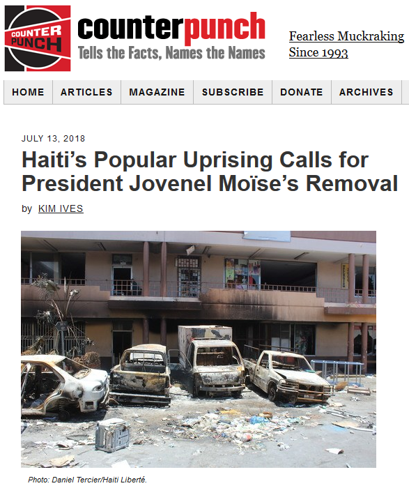 CounterPunch: Haiti's Popular Uprising Calls for President Jovenel Moïse's Removal