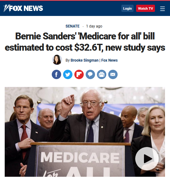 Bernie Sanders' Medicare for All' Bill Estimated to Cost $32.6T, New Study Says