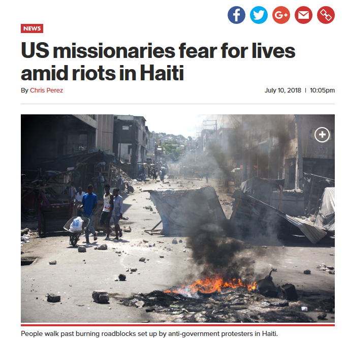 NY Post: US missionaries fear for lives amid riots in Haiti