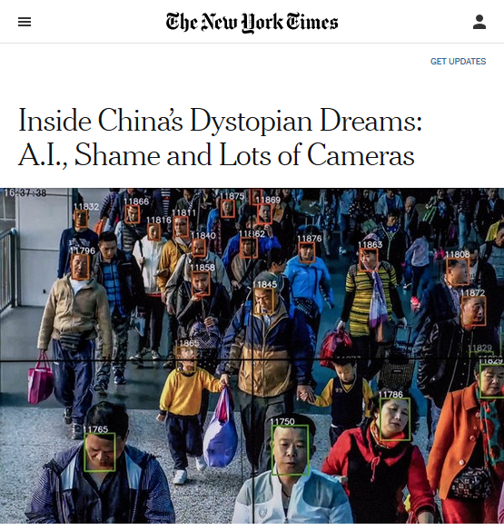 NYT: Inside China's Dystopian Dreams: A.I., Shame and Lots of Cameras
