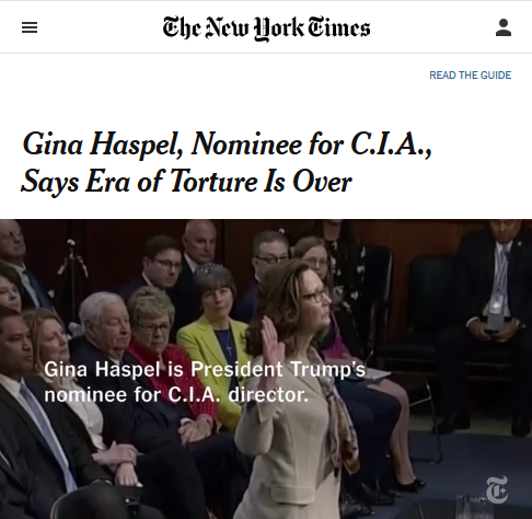 NYT: Gina Haspel, Nominee for C.I.A., Says Era of Torture Is Over