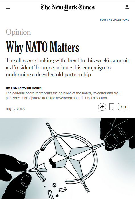 "The New York Times (7/8/18) credits NATO with ""advancing democratic governance, the rule of law, [and] civil and human rights."""