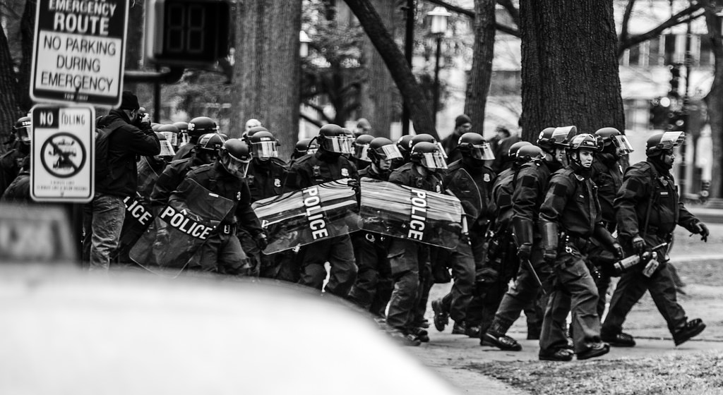 Police at the Trump inauguration (cc photo: Johnny Silvercloud)