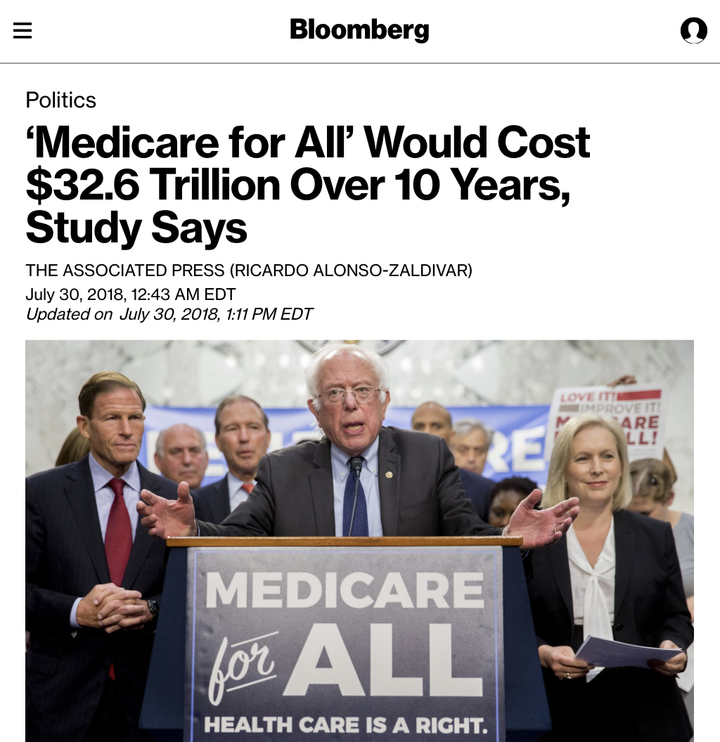 Bloomberg: Medicare for All Would Cost $32.6 Trillion Over 10 Years, Study Says