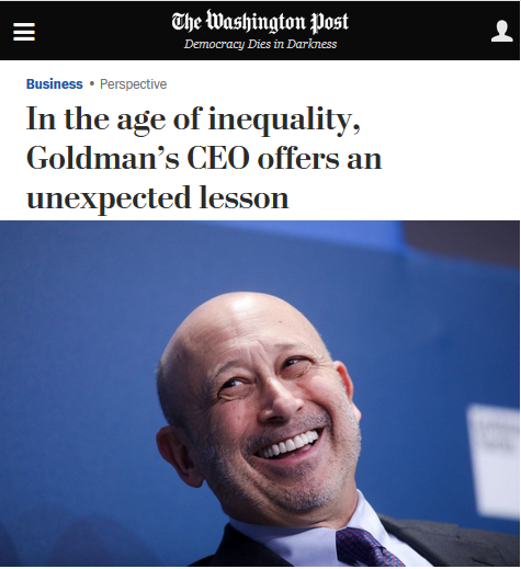 WaPo: In the age of inequality, Goldman's CEO offers an unexpected lesson