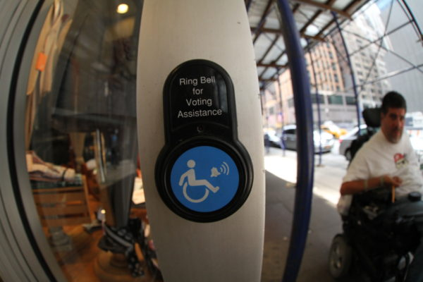 Wheelchair accessible voting (cc photo: Javier Robles)
