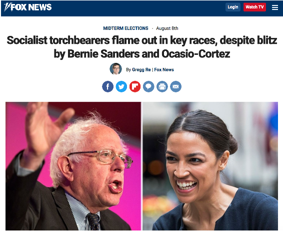 Fox News: Socialist torchbearers flame out in key races, despite blitz by Bernie Sanders and Ocasio-Cortez