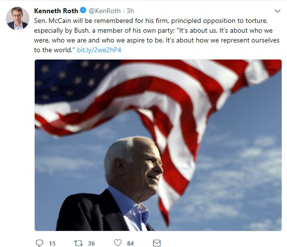Kenneth Roth praises John McCain on Twitter