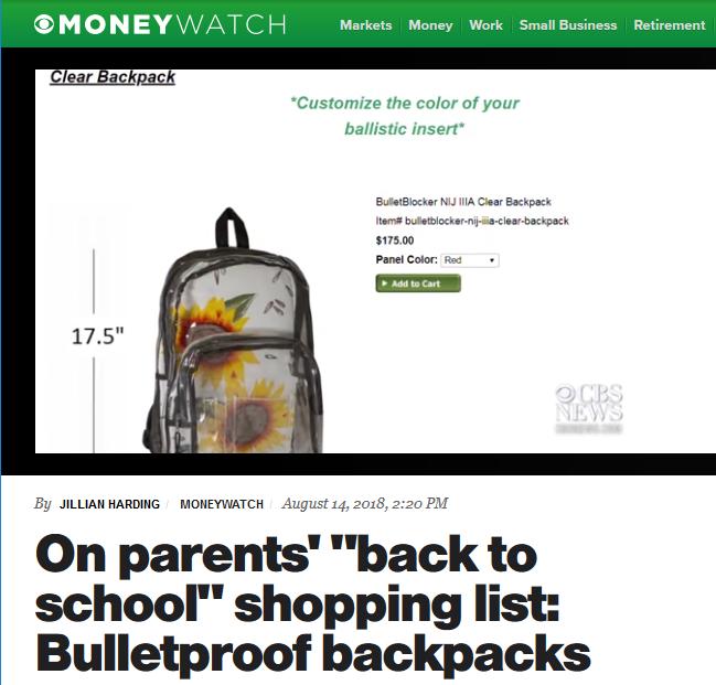 CBS: On Parents' Back to School Shopping List: Bulletproof Backpacks