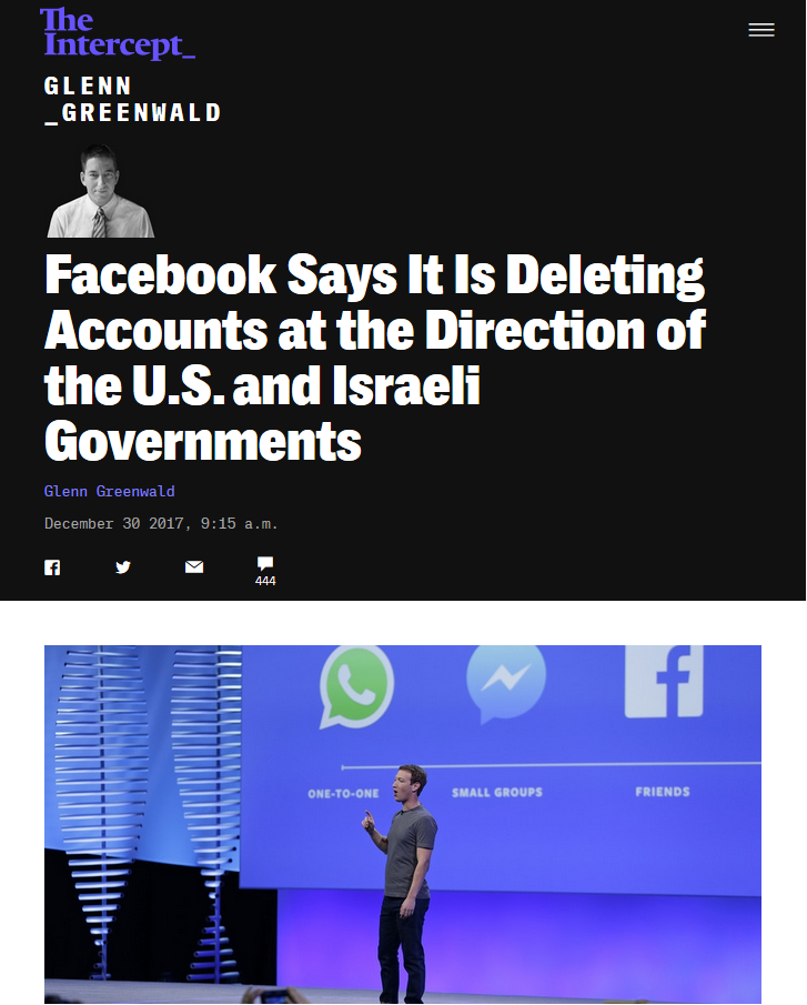 Facebook: Facebook Says It Is Deleting Accounts at the Direction of the U.S. and Israeli Governments
