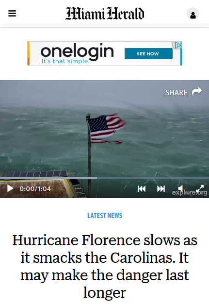 Miami Herald: Hurricane Florence slows as it smacks the Carolinas. It may make the danger last longer