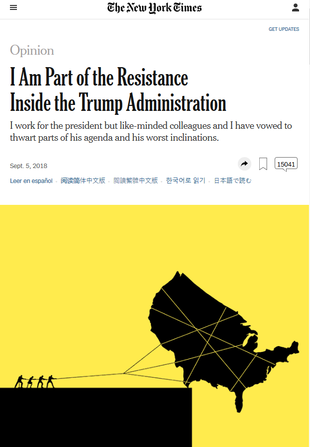 NYT: I Am Part of the Resistance Inside the Trump Administration