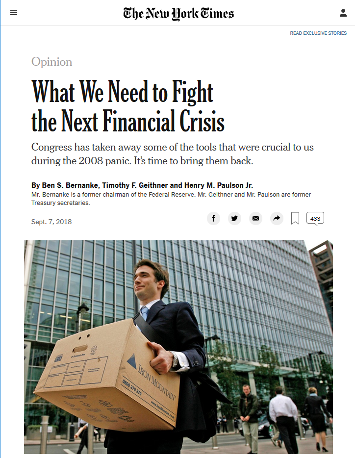 NYT: What We Need to Fight the Next Financial Crisis