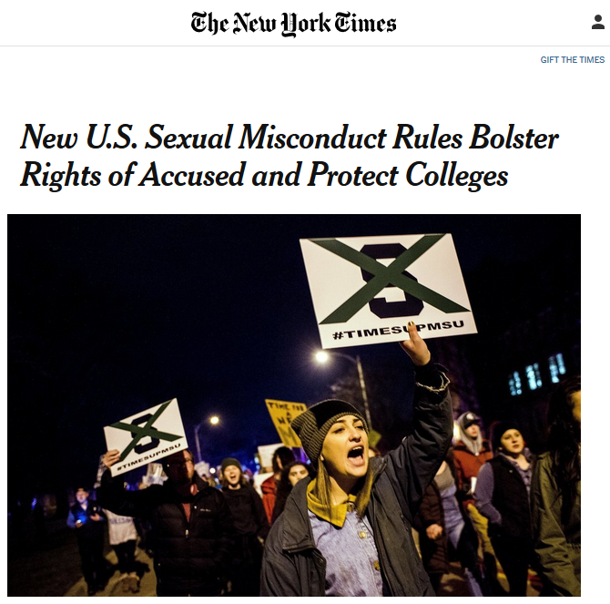 NYT: New US Sexual Misconduct Rules Bolster Rights of Accused and Protect Colleges
