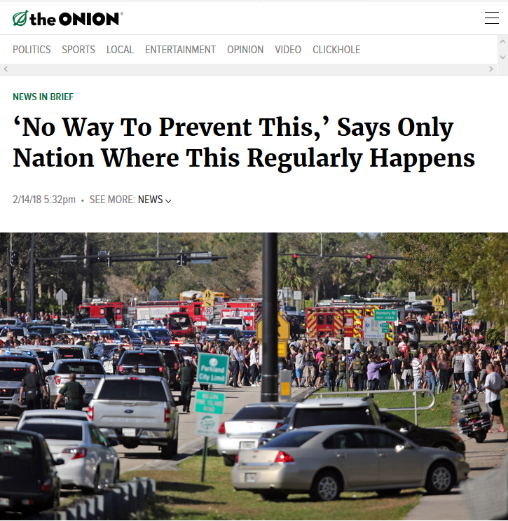 The Onion: 'No Way To Prevent This,' Says Only Nation Where This Regularly Happens