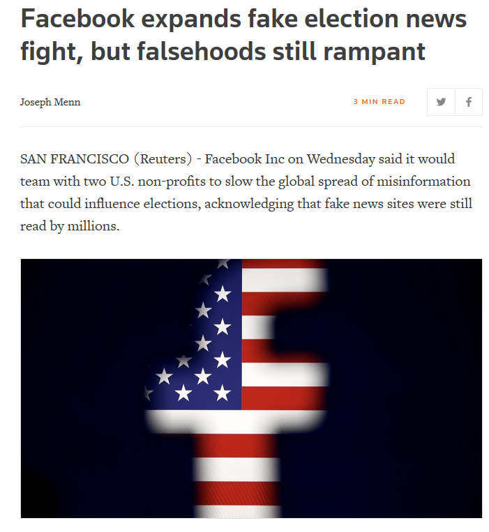 Reuters: Facebook expands fake election news fight, but falsehoods still rampant
