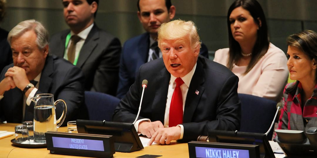 Trump speaking to the UN about his drug proposals