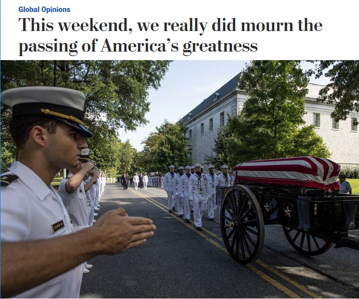 WaPo: This weekend, we really did mourn the passing of America's greatness