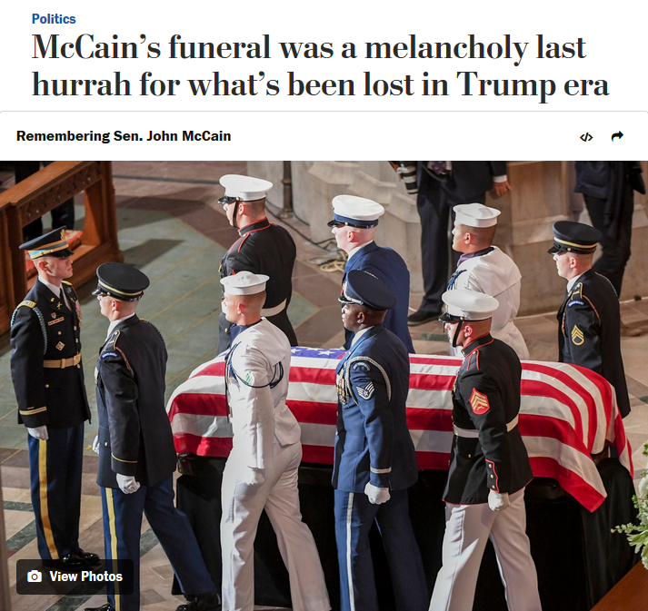 WaPo: McCain's funeral was a melancholy last hurrah for what's been lost in Trump era