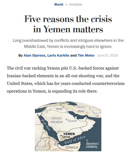WaPo: Five Reasons the Crisis in Yemen Matters