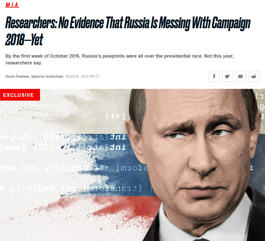Daily Beast: Researchers: No Evidence That Russia Is Messing With Campaign 2018—Yet
