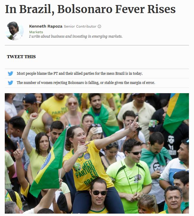 Forbes: In Brazil, Bolsonaro Fever Rises