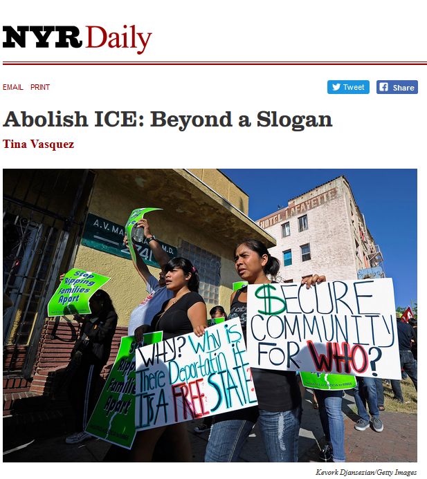 NYR Daily: Abolish Ice: Beyond a Slogan