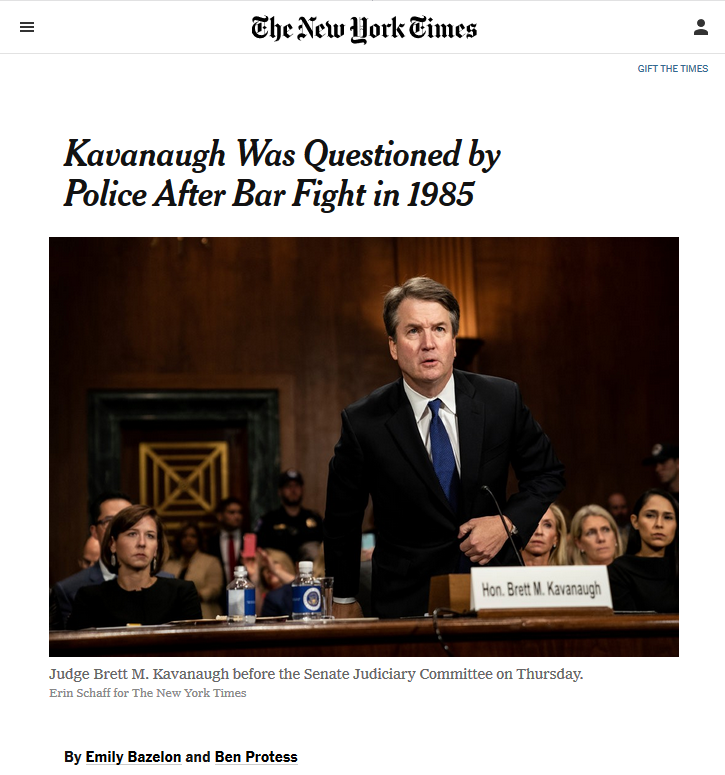 NYT: Kavanaugh Was Questioned by Police After Bar Fight in 1985