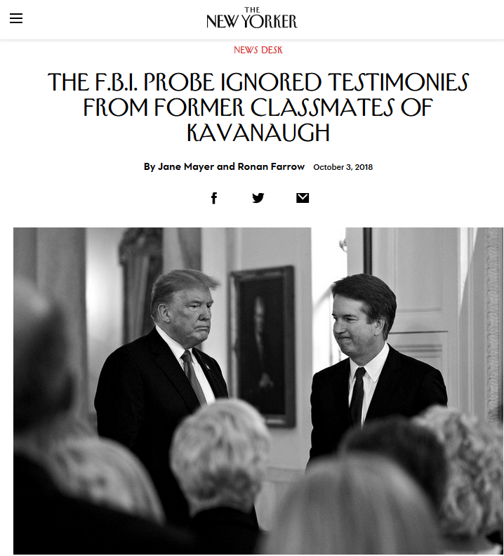 New Yorker: The F.B.I. Probe Ignored Testimonies from Former Classmates of Kavanaugh