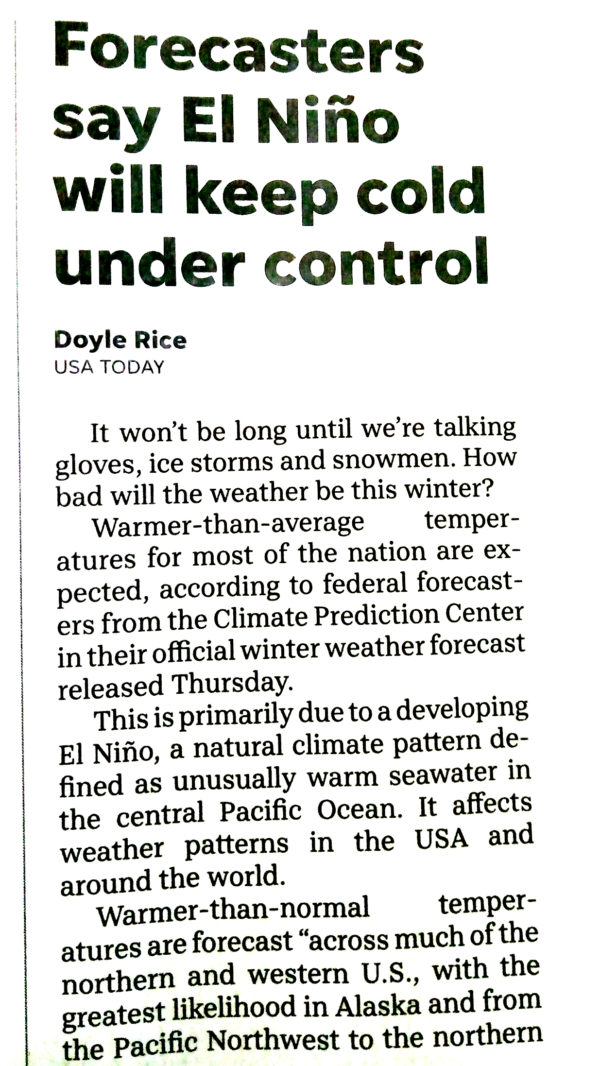 USA Today: Forecasters Say El Nino Will Keep Cold Under Control