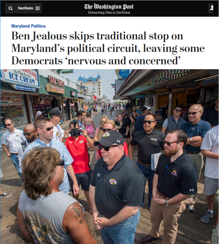 WaPo: Ben Jealous skips traditional stop on Maryland's political circuit, leaving some Democrats 'nervous and concerned'