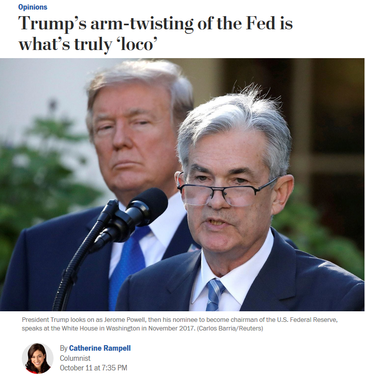WaPo: Trump's arm-twisting of the Fed is what's truly 'loco'