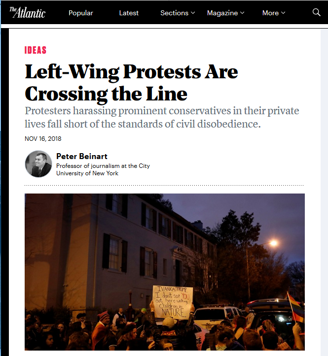 Atlantic: Left-Wing Protests Are Crossing the Line