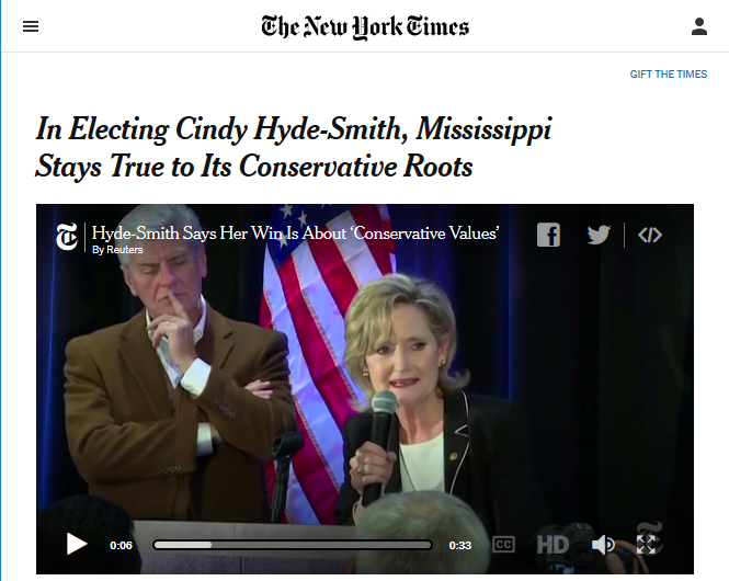 NYT: In Electing Cindy Hyde-Smith, Mississippi Stays True to Its Conservative Roots