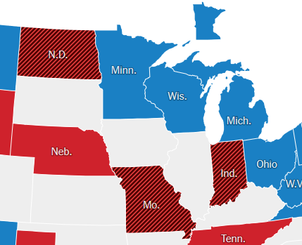 New York Times map of Senate results (detail)