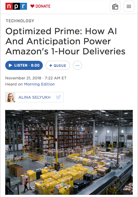 NPR: Optimized Prime: How AI And Anticipation Power Amazon's 1-Hour Deliveries