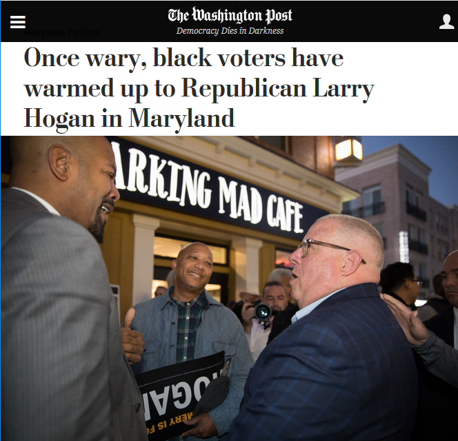 WaPo: Once wary, black voters have warmed up to Republican Larry Hogan in Maryland