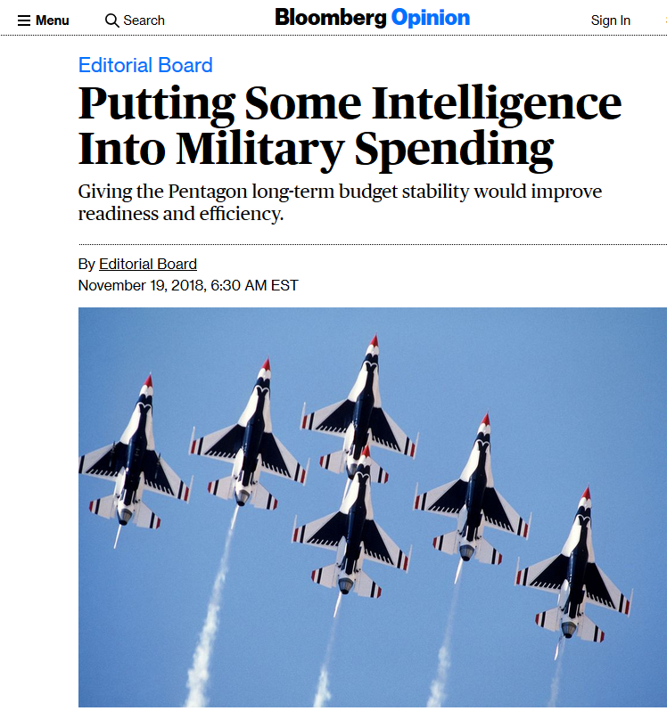 Bloomberg: Putting Some Intelligence Into Military Spending