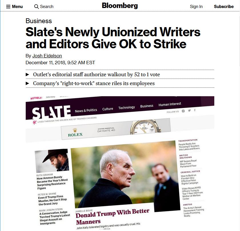 Bloomberg: Slate's Newly Unionized Writers and Editors Give OK to Strike
