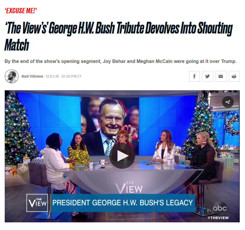 Daily Beast: 'The View's' George H.W. Bush Tribute Devolves Into Shouting Match