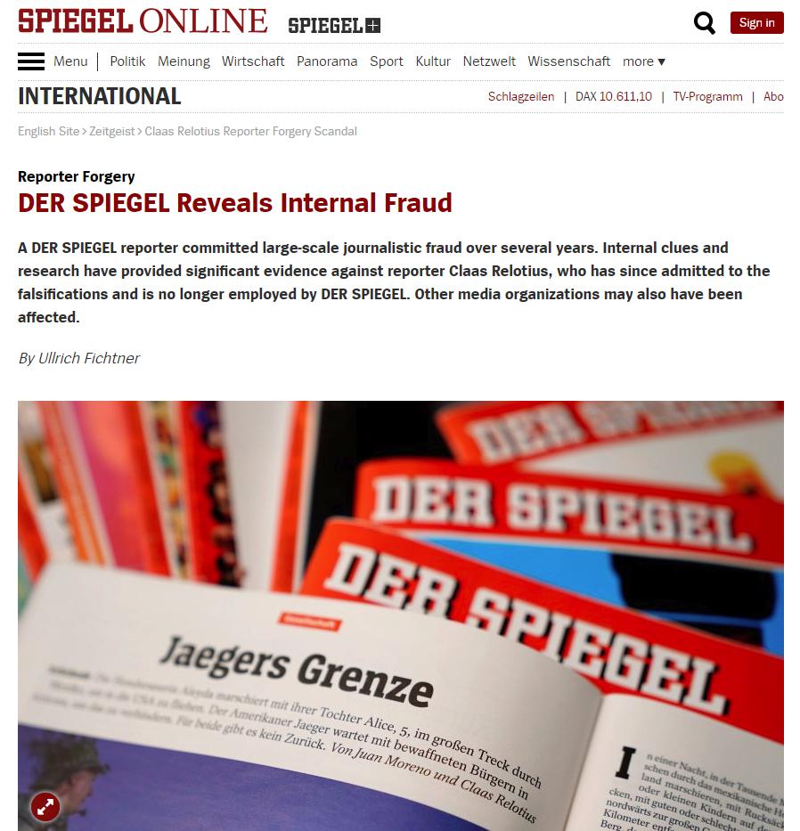 DER SPIEGEL Reveals Internal Fraud