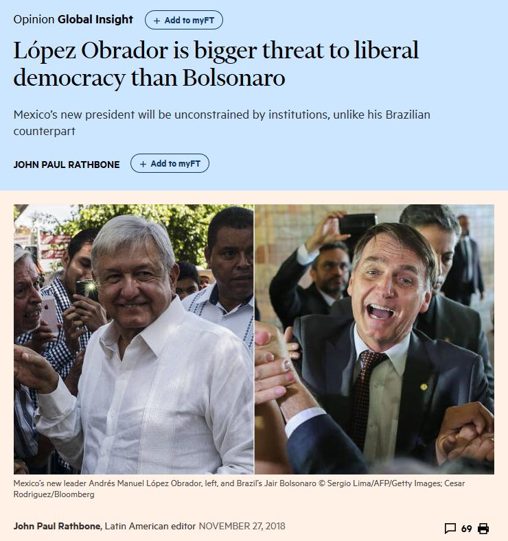FT: López Obrador is bigger threat to liberal democracy than Bolsonaro