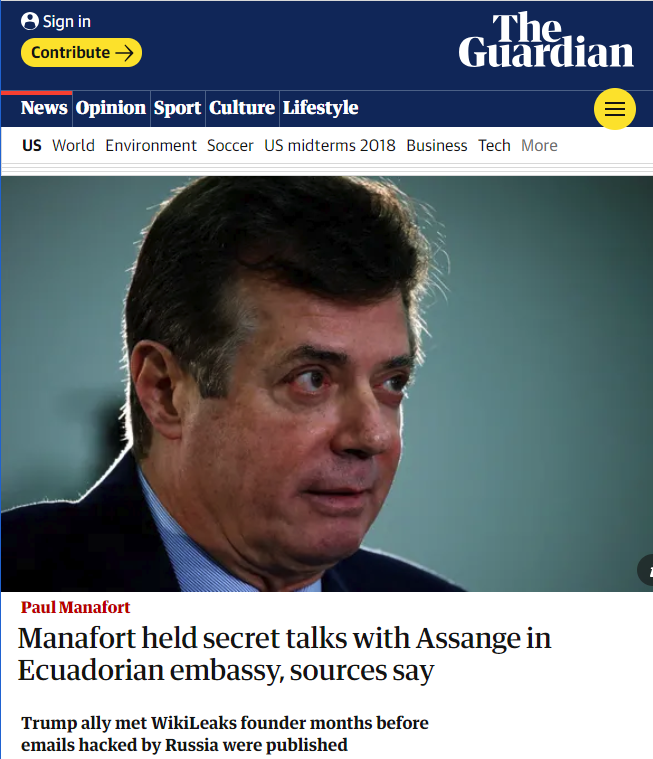 Guardian: Manafort held secret talks with Assange in Ecuadorian embassy, sources say