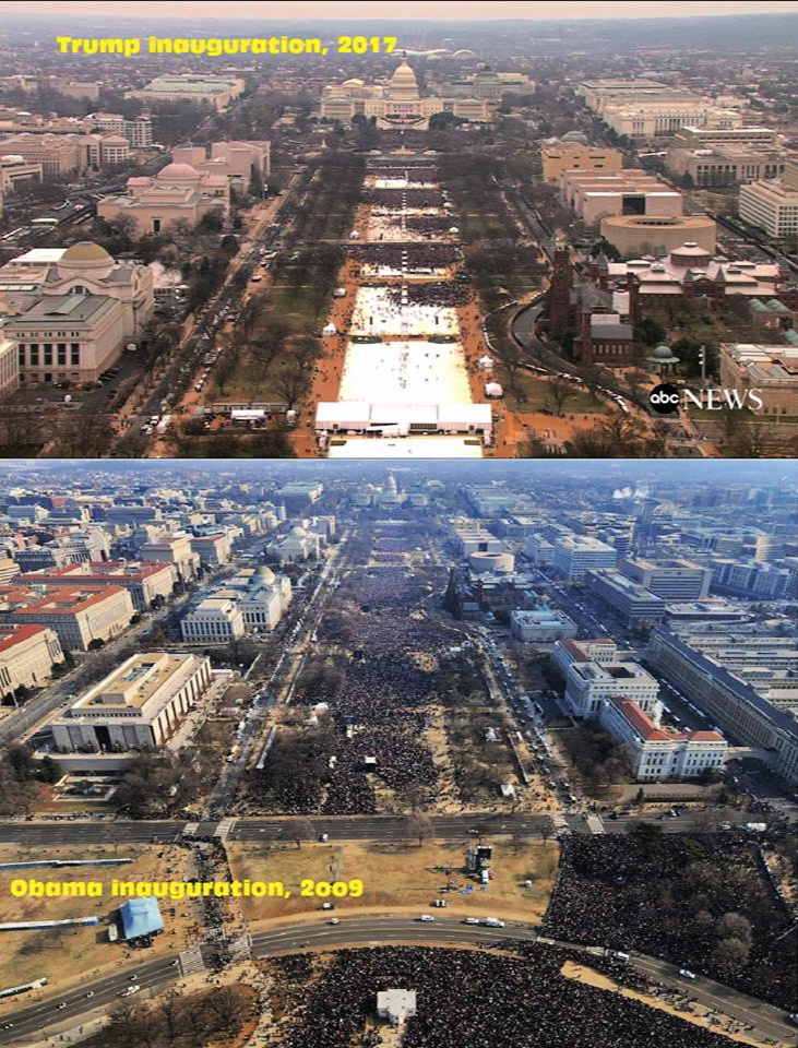 Comparison of Trump and Obama inaugural crowds