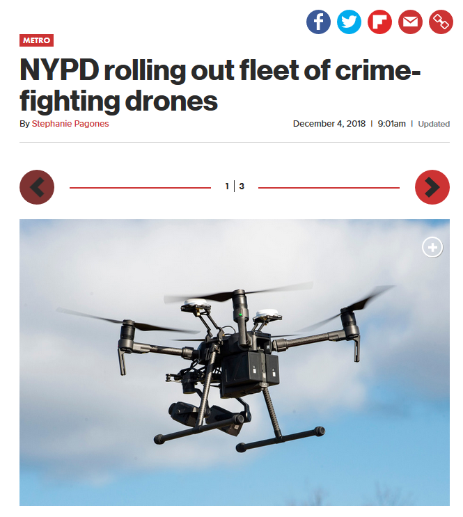 New York Post: NYPD rolling out fleet of crime-fighting drones