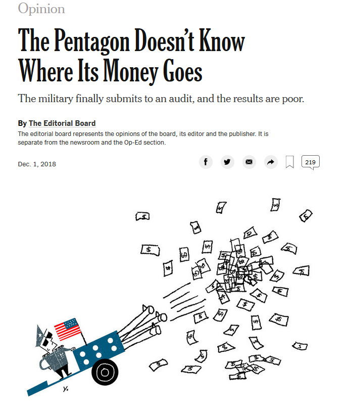 NYT: The Pentagon Doesn't Know Where the Money Goes