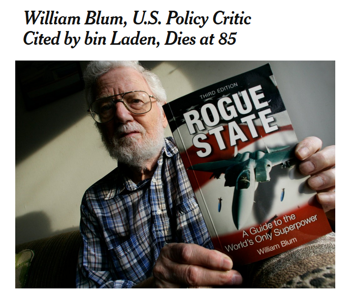 NYT: William Blum, U.S. Policy Critic Cited by bin Laden, Dies at 85
