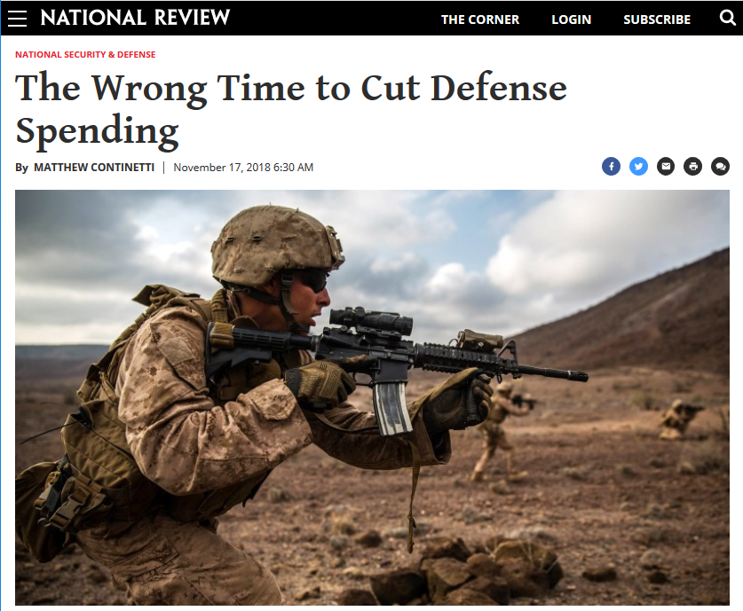 National Review: The Wrong Time to Cut Defense Spending